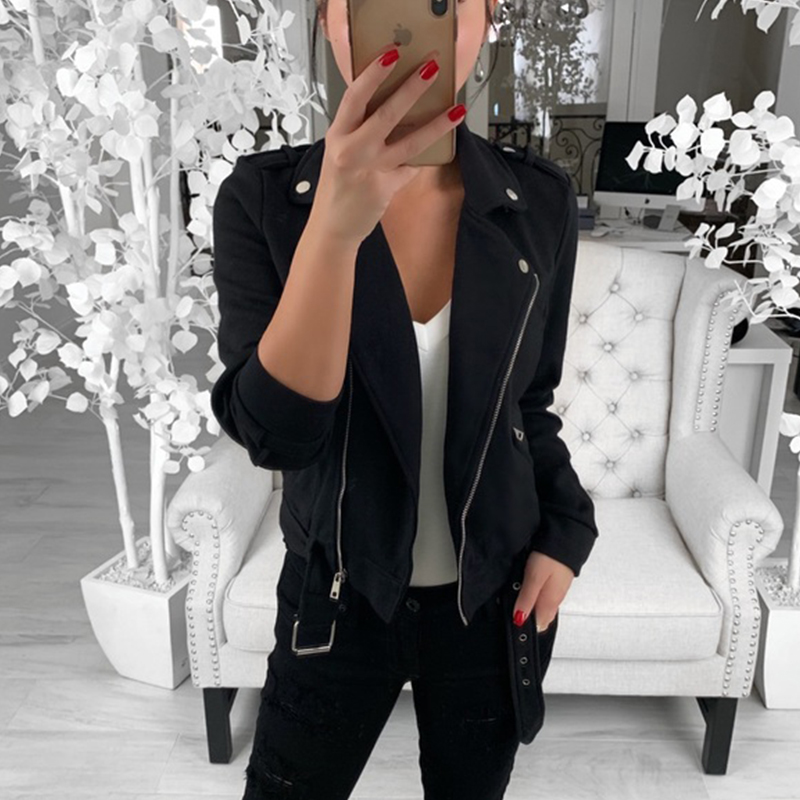 Wipalo 2019 Autumn Women Black Slim Cool Lady Turn Down Collar Long Sleeve Zipper Coat Streetwear Solid Bomber Jacket Outerwear