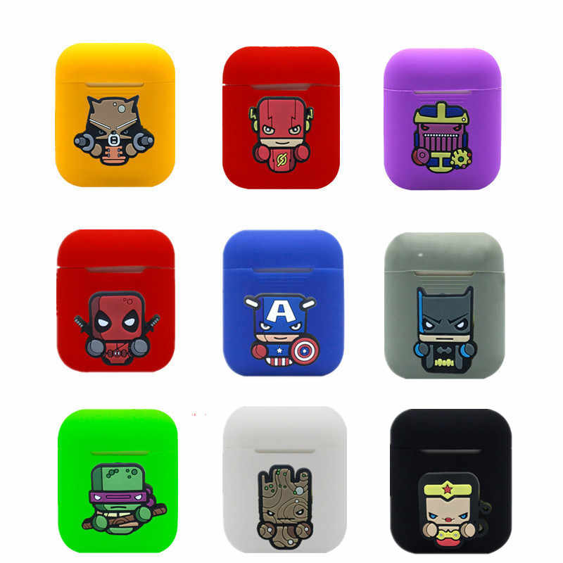 Hero Cartoon Wireless Bluetooth Earphone Case For Apple AirPods Silicone Charging Headphones Cases for Airpods Protective Cover