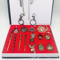 Movie Potter Magic Wands Stick Figures Toys Set Gryffindor Badges Hermione Granger Lord Snape Neville Wand with gifts box