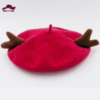 Women Winter Berets Knitting Woolen Beret Lady Solid Antlers Christmas Gift Candy Color Hats Christmas Eve