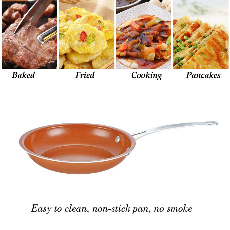 Frying Pan Non-stick Copper Cast Iron Frying Pan  Grill With Ceramic Coating Induction Cooking Oven Anti-hot Handle Frying Pan