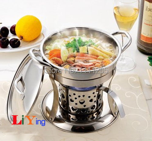 stainless steel hotpot set Chafing Dish lid holder liquid alcohol stove  heater mini 18cm cooker Buffet - Aliexpress.com : Buy Stainless Steel Hotpot Set Chafing Dish Lid