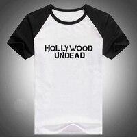 Hollywood Undead Letter 2016 Summer Mens PVC Letter Print Raglan Short Sleeve T Shirt Swag Printed