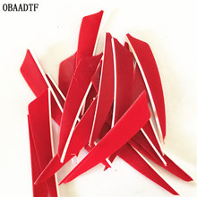 50Pcs Red Shield Cut 3inch Vane Arrow Feather Bow and Arrow  Wood Fiberglass Carbon Arrow Shooting Outdoor Accessories