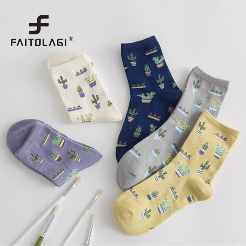1Pair Plant Cactus Pattern Socks Women Girls Comfortable Cute Cotton Casual Soft Socks sokken Warm Short Women Socks meias