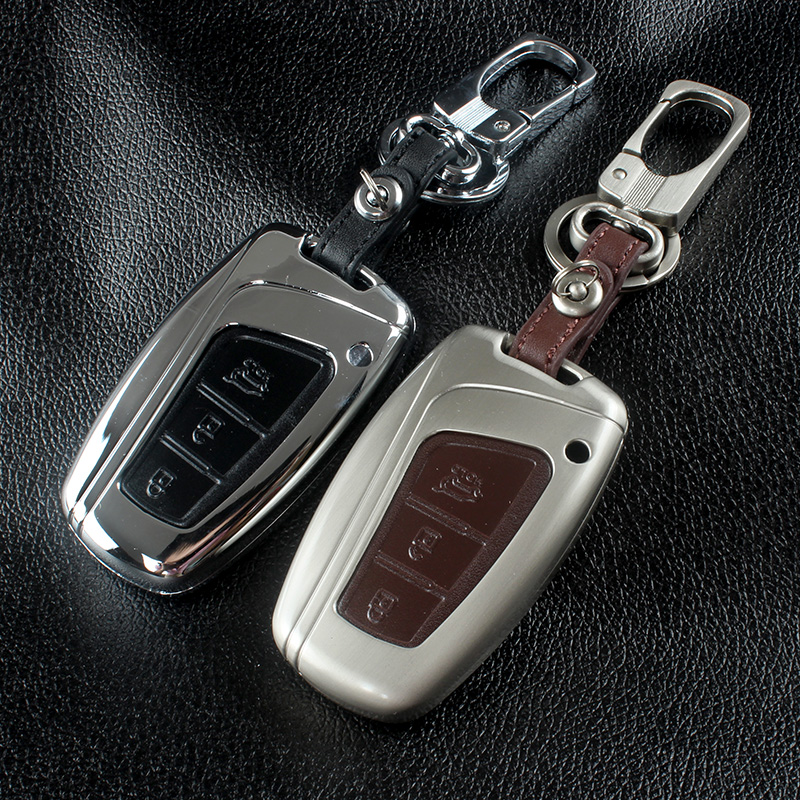 Zinc Alloy+Leather Car Key Fob Cover Case Chain For Hyundai Grand Santa Fe IX45 2013 2014 2015 2016 Key Case Remote Accessories