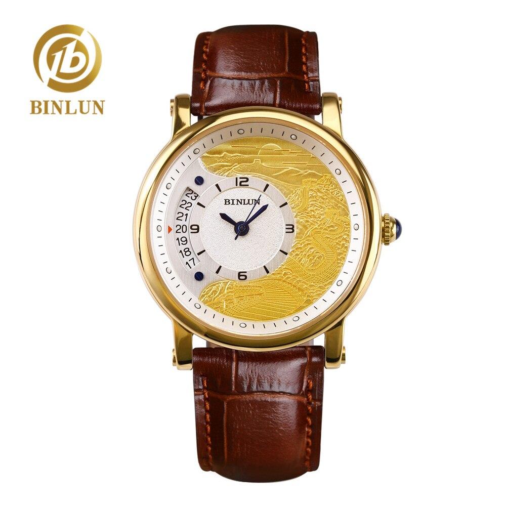 BINLUN Luxury 18K Gold Chinese Great Wall Dial Men's Automatic Watch Art Chinese Style Gold Watch Case Sapphire Men Wrist Watch цена в Москве и Питере