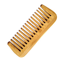 1PCS Natural Bamboo Wood Wide Tooth Comb Wholesale No Handle