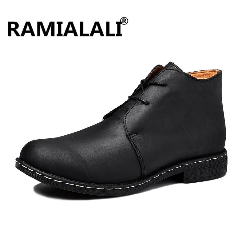 En 47 Grande Taille Dentelle Chaussures Mode Hommes Ramialali Cheville High Bottes Noir Up 39 Vache marron 2018 Cuir Main De Suède Top Y6Igmvbf7y