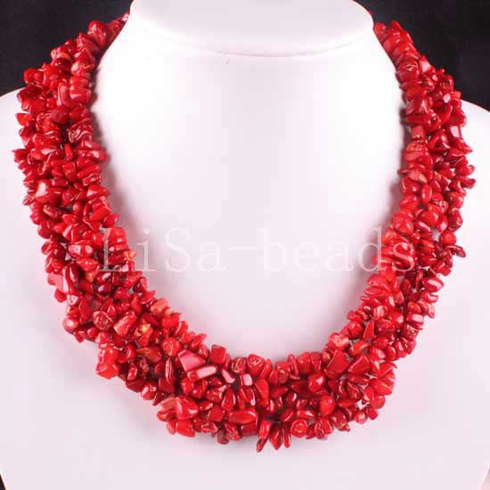 Free Shipping Jewelry 4X8MM Natural Red Sea Coral Chip Beads Nylon Line Weave Necklace 18