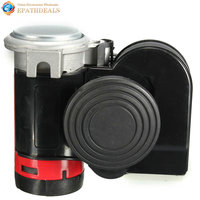 Black 12V 139db Loud Car Horns Snail Compact Dual Air Horn For Auto Vehicle Motorcycle Yacht