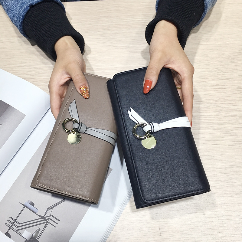AOEO Black Woman Wallet Female Wristlet Slim 9 Card Holder Pu Leather Ladies Travel Purse Cute Phone Money Cash Coin Bag Wallets aoeo genuine leather women wallet dollar price phone pocket card holder female zipper clutch coin purse ladies slim wallets