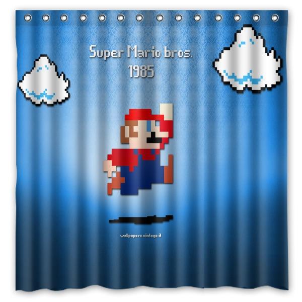 180180cmCustom Super Mario Polyester Bathroom Shower Curtain Waterproof Fabric Bath Decorative