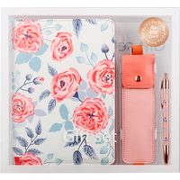 Never Korean Floral A5 Notebook Personal Diary Pink Pencil Bag Metal Pen Stationery Gift Set Planner Agenda Office Supplies
