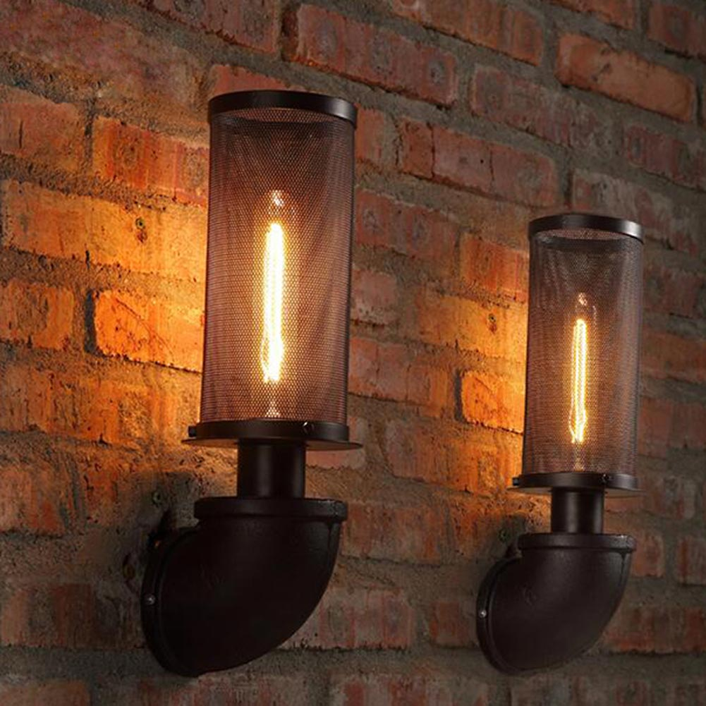 Iron Mesh Abajur Retro Water Pipe Wall Lamps Vintage E27 American  Industrial Rustic Wall Light Loft Aisle Wall Sconce Home Light Part 91