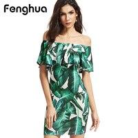 Fenghua Casual Plus Size Dress Women Summer 2017 Elegant Sexy Off Shoulder Slim Bodycon Pencil Print