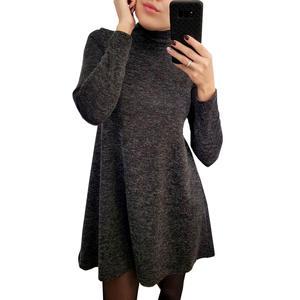 62ffe82dbe7 SMILE FISH Long Sleeve Casual Mini Dress Women Plus Size