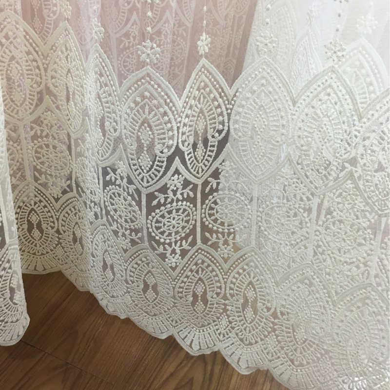 現代のカーテン新ミルクシルク刺繍のリビングルームの寝室の窓花刺繍高級 Cortinas