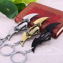 batman and superman metal keychain small pendant cool gifts for men games avengers key chain ring holder buckle anime keychain