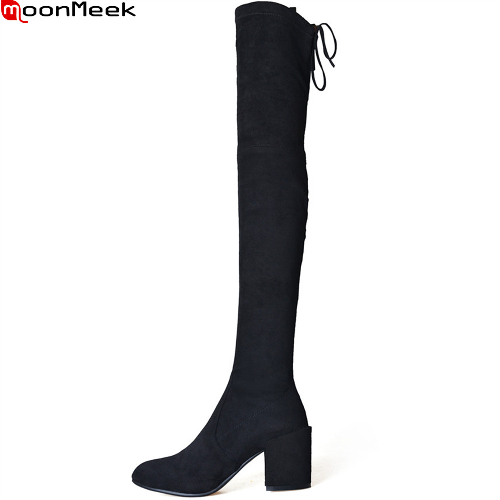 MoonMeek black fashion women boots square toe square heel kid suede ladies boots cross tied high heel sexy over the knee boots memunia black pointed toe fashion women boots zipper kid suede boots square heel leather cross tied sexy over the knee boots