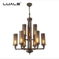 Suspension industrielle Luminaire Loft Vintage Suspension lumières Edison Luminaire fer Art rétro Suspension lampe Art Pipe à eau lampe