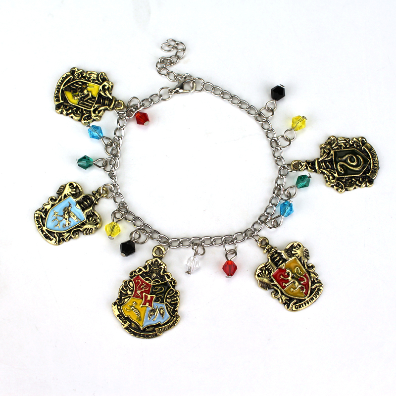 Wholesale Movie Charm Bracelets Gryffindor Hufflepuff Ravenclaw Slytherin Badge Link Chain Bracelet Vintage Bronze Harry Bangles