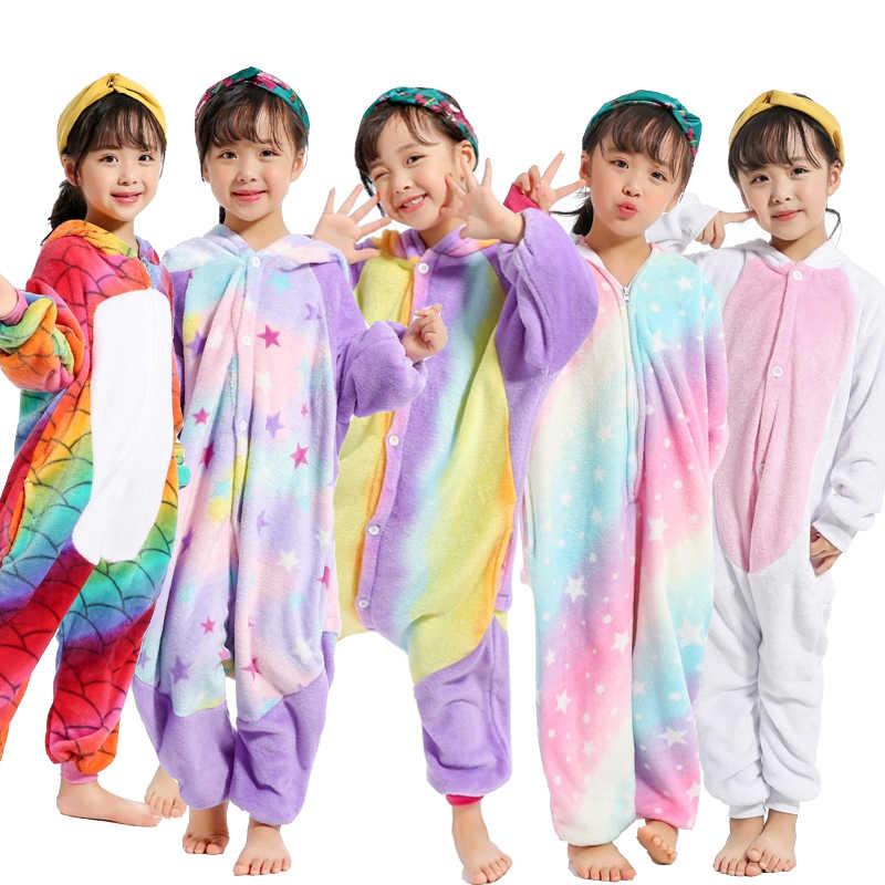 ... Новые Девушки Единорог Kigurumi Onesie Дети пижамы с рисунками животных  Rainbow Star 0cd5a45e2de6a