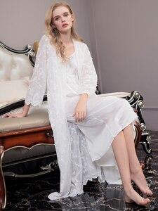 Image 5 - ローブ女性のレースエレガントなローブセット女性刺繍パジャマツーピースためバスローブスーツホット販売