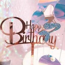2019 yeni pembe altın denizkızı akrilik kek Topper yenilik Glitter mutlu doğum günü pastası Topper doğum günü partisi kek süslemeleri
