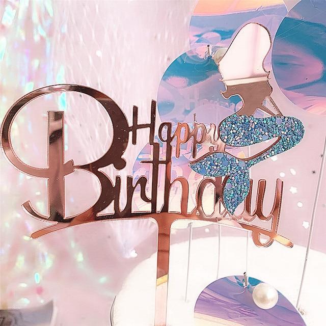 2019 חדש ורוד זהב בת ים אקריליק עוגת טופר חידוש גליטר שמח יום הולדת עוגת טופר עבור מסיבת יום הולדת עוגת קישוטים