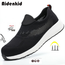 Aidenkid mens safety shoes steel toe cap structure protective lightweight 3D shockproof work