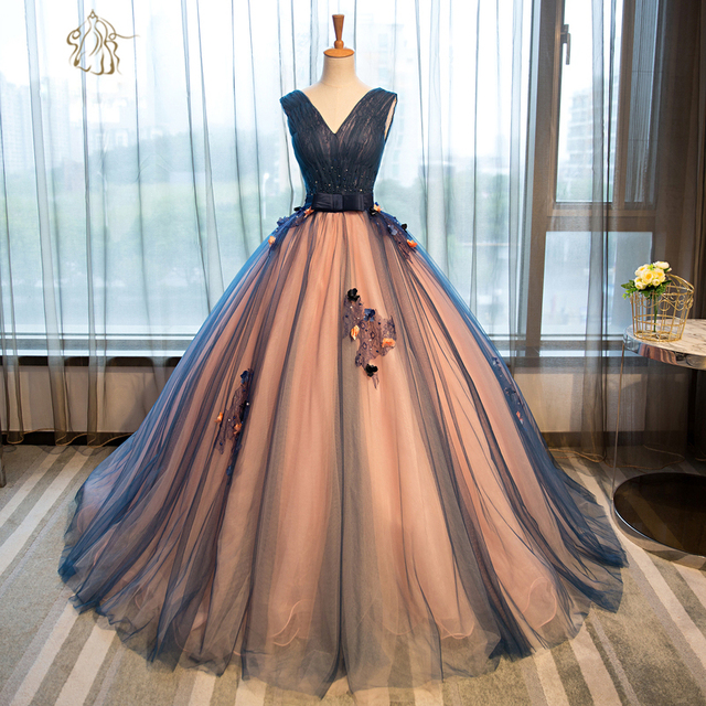 Elegant V Neck Puffy Prom Dresses 2017 Beaded Lace Flowers Corset ...
