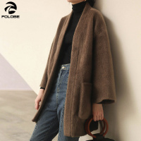 FOLOBE 2019 Autumn Winter Woman Solid Color Long Sleeve Pocket Sashes Warm Long Wide waisted Imitate Mink Coat Blend