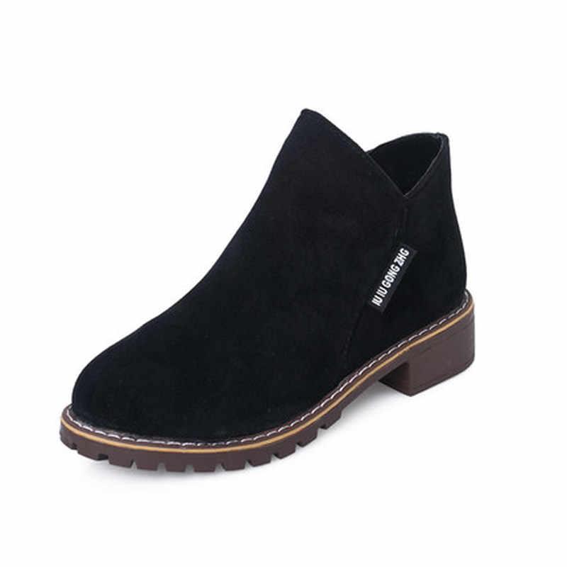 Neue Weibliche Mode Slip Auf Niedrigen Ferse Nähen Flock Plattform Stiefeletten frauen Casual Bequeme Stil Schwarz Schuhe Größe 35-40