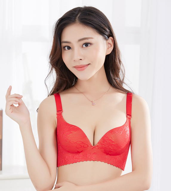 Free Shipping Sexy One Piece Deap V Push Up Bras Embroidery Wire Free Underwear Brassiere Padded Unlined Seamless Bras For Women