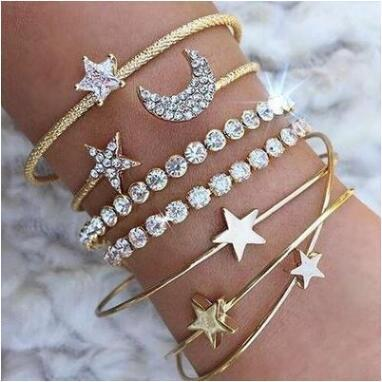 Fashionable Star Moon Opening <font><b>Bracelet</b></font> Set Of Four Hand <font><b>Rings</b></font> For women blang image