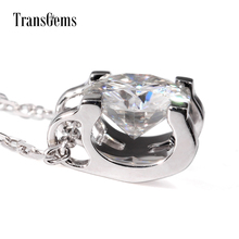 TransGems 1 Carat Lab Grown Moissanite Diamond Solitaire Pendant Necklace Solid 18K White Gold Necklace for