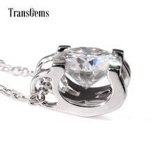 TransGems 1 Carat Lab Grown Moissanite Diamond Solitaire Pendant Necklace Solid 18K White Gold Necklace for Women