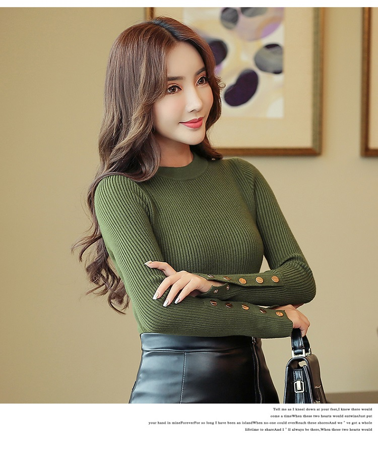 Fashion 19 New Spring Autumn Women Sweater Knitted Long Sleeve O-Neck Sexy Slim Office Lady Button Casual Sweaters Tops 9
