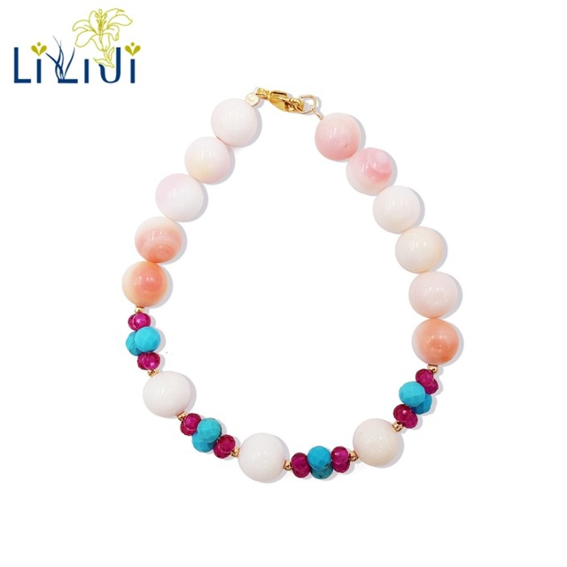 LiiJi Unique Natural Stone Pink Conch Shell Turquoises Lab-created Rubys 925 Sterling Silver Gold Color/Goldfilled  Bracelet