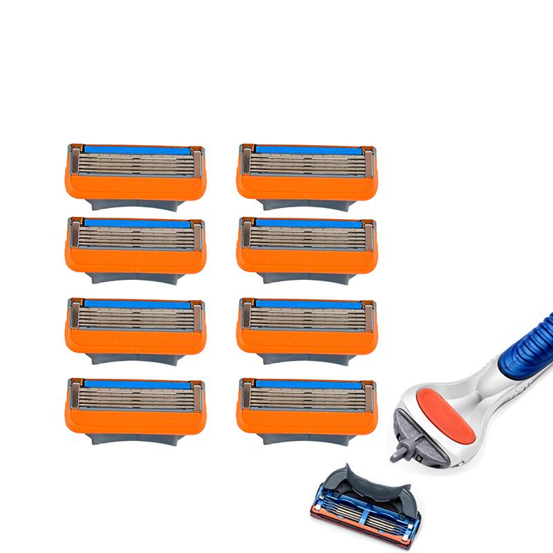 2017 New 5 Layer shaving Razor Blades for men hot sell 8 pcs:set Hight Quality Mens Standard face care Shaver 1 pcs razor handle 1