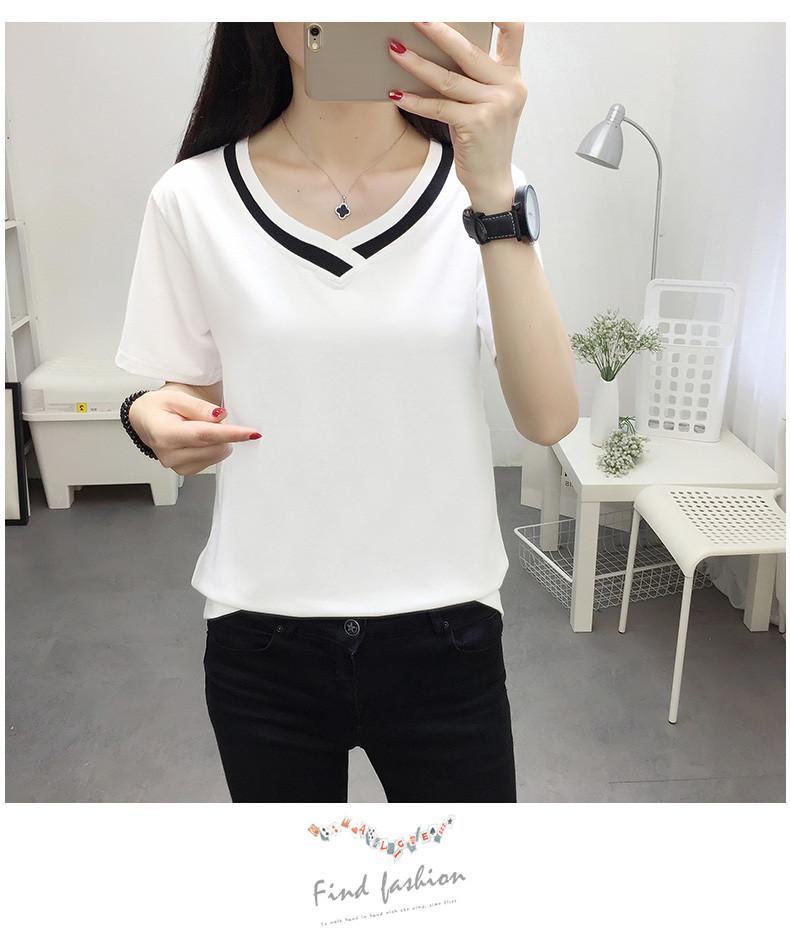 4XL 5XL Plus Size Korean Women's Clothing Fashion Big Size T-shirt Female V neck Short Sleeve Casual obesity Tee Shirt Top Femme 33