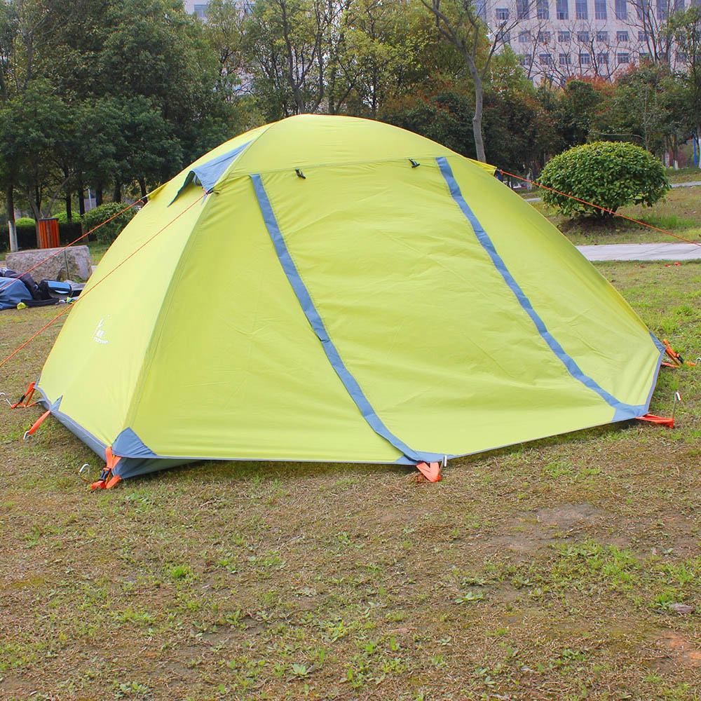 Hiking Tent Fabric Ultralight 2 Person Double Layers Aluminum Rod Camping Tent 4 Season With 2 Person Mat 3kg ultralight camping tent 2 3person coated with 20d silicon double layers aluminum rod snow mountain keep warm tents