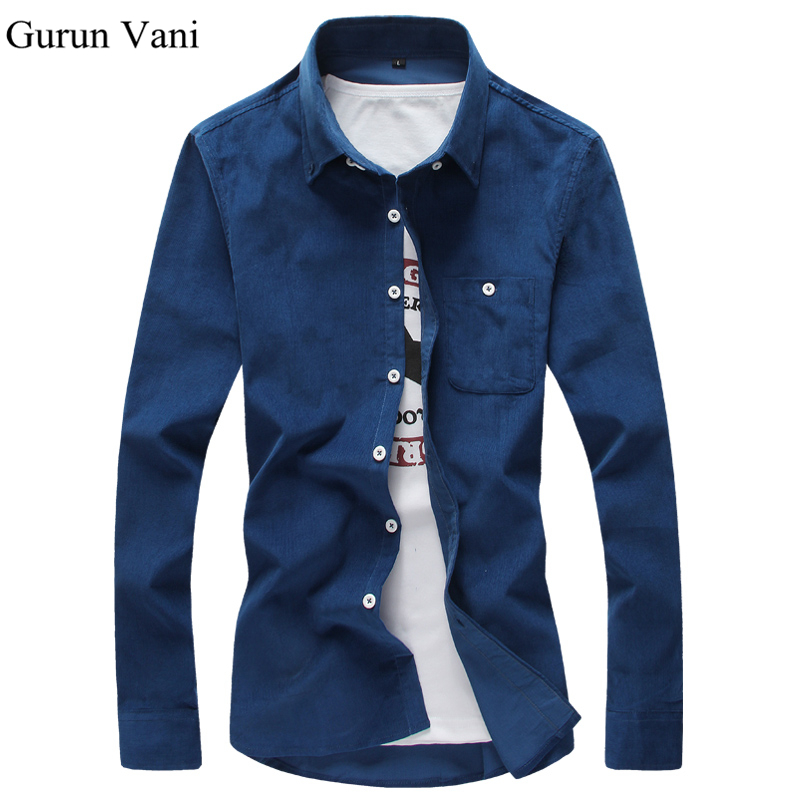 Free Shipping 2017 Mens Dress Shirts Corduroy Casual Slim Fit Brand Long Sleeve Shirts Pure Color