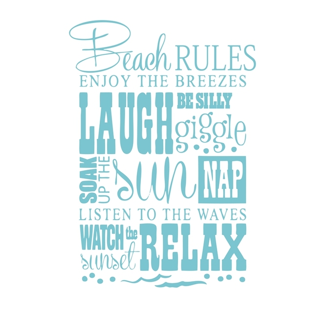 Beach Quotes Free Shipping Beach Rules..Beach quotes vinyl wall decal  Beach Quotes