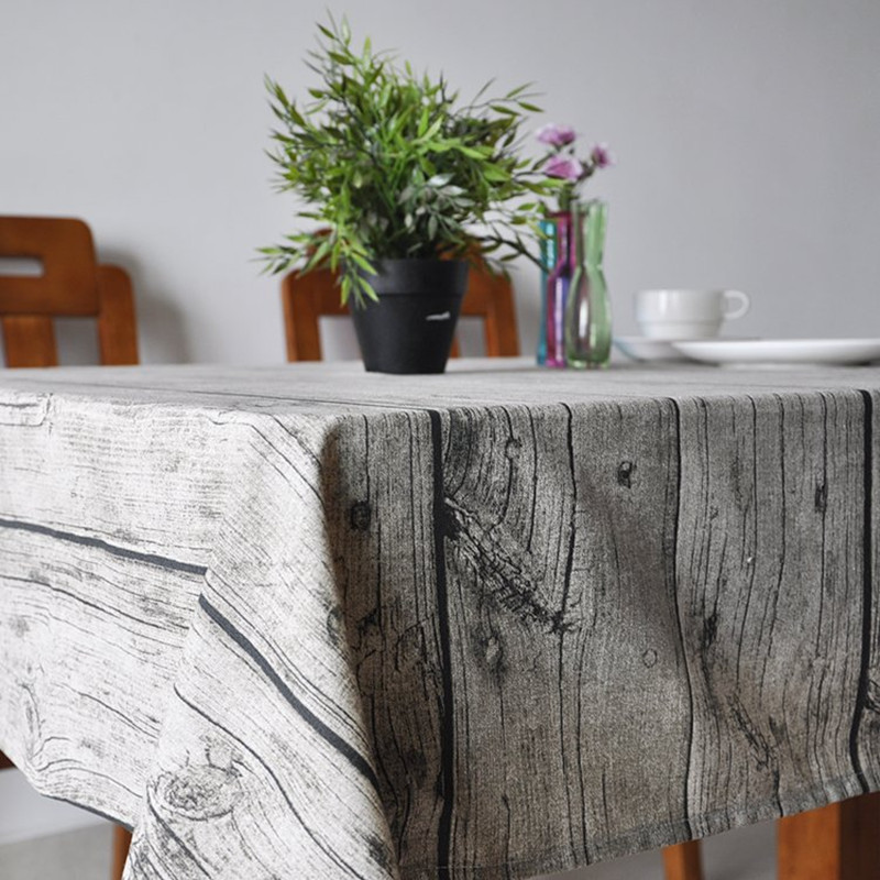 European Simple Wood Grain Style Soft Linen Table Cloth Fast Food Restaurant Table Cloth Concise 3D Style Table Cloth 1pcs