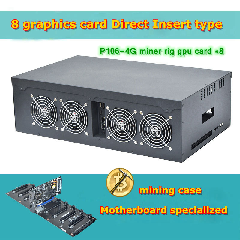pc case 4U Server P106-4G miner rig video card Chassis rack 8 graphics Quasi-system Mining machine case Complete Machine