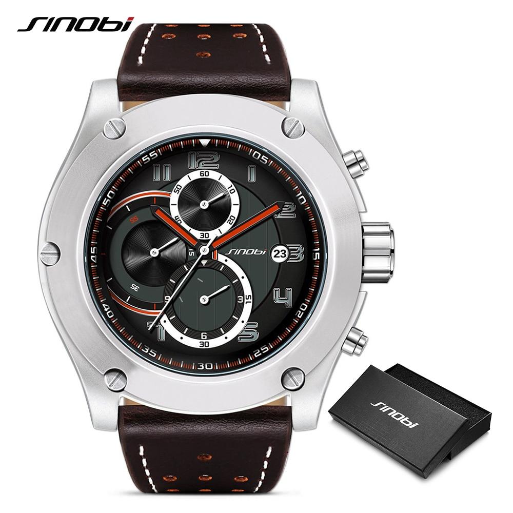 Relogio Masculino SINOBI New Man Chronograph Wrist Watches Calender Waterproof Leather Sports Men's Geneva Military Quartz Clock