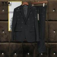 Новые модные брендовые Metel пчелы блестками блейзер с брюками комплект из двух предметов узкие облегающие шерстяные смесь свадебное платье