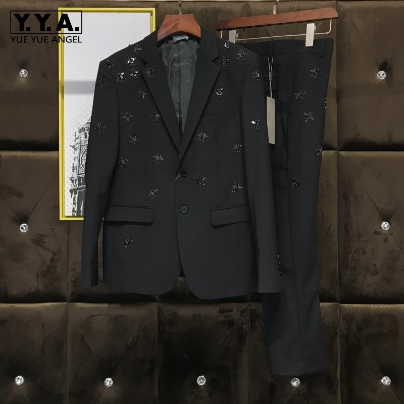 Fashion New Brand Metel Bee Sequined Blazer With Pants Two Piece Set Slim Fit Wool Blend Wedding Dress Smart Casual Male Suits